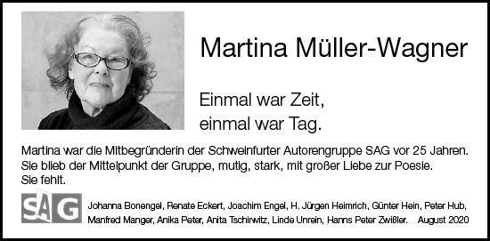 Traueranzeige Martina Müller-Wagner